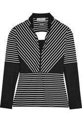 Adidas By Stella Mccartney Studio Striped Cutout Stretch Jersey Top Black