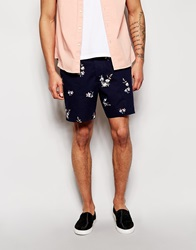 French Connection Chino Shorts With Floral Print Navy