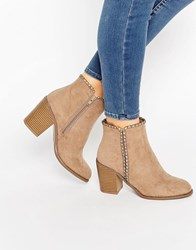London Rebel Mid Heeled Ankle Boots Taupe Mf Beige