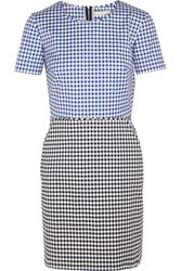 Richard Nicoll Gingham Stretch Cotton Twill Mini Dress Blue