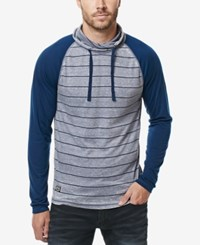 Buffalo David Bitton Men's Stripe Pullover Hoodie Indigo
