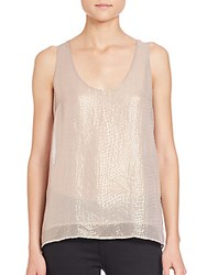 Joie Mirla Metallic Silk Tank Gold