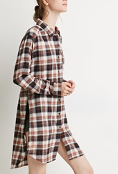 Forever 21 High Slit Plaid Flannel Tunic Navy Rust