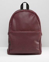Asos Backpack In Faux Leather Burgundy Black