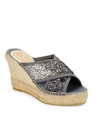 Vidorreta Mareva Cross Strap Espadrilles Platform Wedge Sandals Black