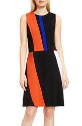 Vince Camuto Petite Women's Colorblock Sleeveless A Line Dress Vivid Flame