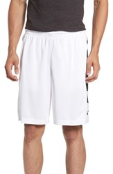 Nike Men's 'Elite Stripe' Basketball Shorts White Black Wolf Grey