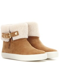 Burberry Skillman Shearling Lined Ankle Boots Brown