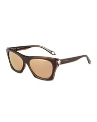 Givenchy Faceted Plastic Rectangle Sunglasses Brown Gold