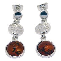 Goldmajor Amber And Sterling Silver Sunset Disc Earrings Silver Amber