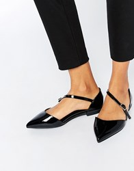 Asos Lead The Way Wide Fit Pointed Ballet Flats Black