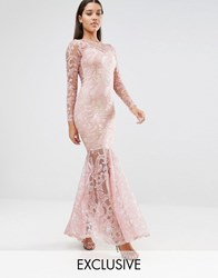 Club L Embroided High Neck Fishtail Maxi Dress Nude Pink Multi