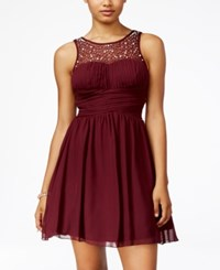 Speechless Juniors' Embellished Fit And Flare Dress A Macy's Exclusive Dark Burgundy