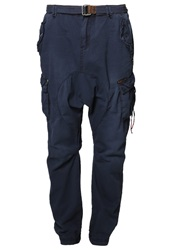 Khujo Lumpy Trousers Navy Dark Blue