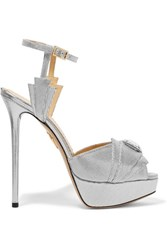 Charlotte Olympia Sky Scraper Embellished Metallic Textured Leather Sandals Silver