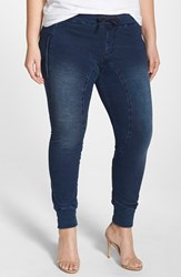 Plus Size Women's Poetic Justice 'Jonjon' Stretch Knit Denim Jogger Pants