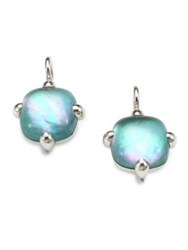 Pomellato 67 Agate Doublet And Sterling Silver Square Cabochon Drop Earrings