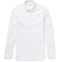 Burberry Slim Fit Stretch Cotton Blend Poplin Shirt White