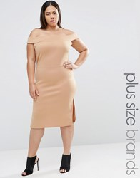 Pink Clove Bardot Pencil Dress With Side Split Beige