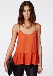 Missguided Dropped Peplum Cami Top Orange