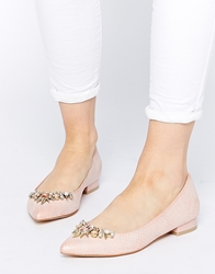 Faith Garden Embellished Flat Pointed Shoes Nude