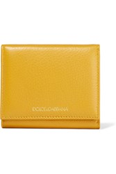 Dolce And Gabbana Textured Leather Wallet Yellow