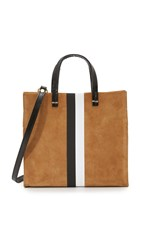 Clare V. Petite Simple Tote Camel Suede W Black And White