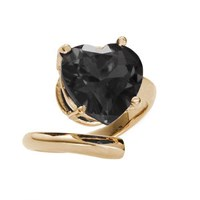 Bijules Heart Cocktail Ring Black Gold Vermeil