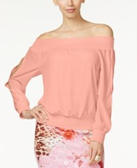Thalia Sodi Off The Shoulder Smocked Hem Blouse Only At Macy's Coral