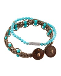 Tai Set Of 2 Beaded Cz And Turqouise Color Beaded Cord Bracelets