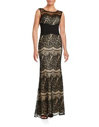 Betsy And Adam Lace Pleated Waist Gown Black Nude