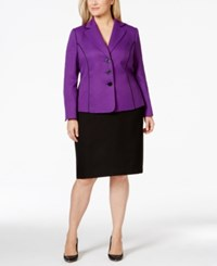 Le Suit Plus Size Pipe Trim Jacket Skirt Suit Darkpurple