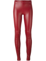 Plein Sud Jeans Leather Leggings Red