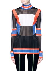 Emilio Pucci Colourblock Rib Knit Turtleneck Sweater Multi Colour