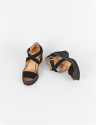 Mm6 Canvas Rubber Crossover Sandal Black