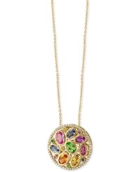 Effy Watercolors Multi Gemstone 3 3 8 Ct. T.W. And Diamond 1 5 Ct. T.W. Pendant Necklace In 14K Gold Yellow Gold