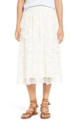 Women's Bp. Scallop Lace Overlay Midi Skirt Ivory Egret