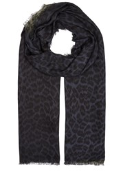Lily And Lionel Florence Navy Green Leopard Print Scarf