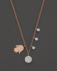 Meira T 14K Rose And White Gold Hamsa Disc Diamond Necklace 16 Multi