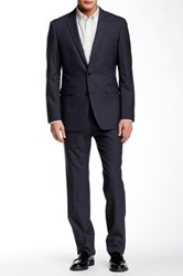 Vince Camuto Grey Sharkskin Two Button Notch Lapel Wool Suit Gray