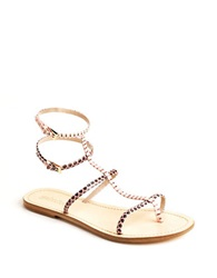 Sebastian Rosa Snakeskin T Strap Leather Sandals Beige