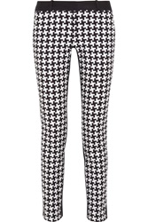 Michael Michael Kors Houndstooth Print Stretch Cotton Skinny Pants Blue