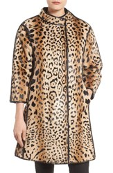 Linda Richards Women's Leopard Print Goat Fur Coat