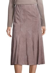 Lafayette 148 New York Suede Pleated Aria Skirt Lead