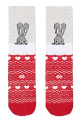 Topshop Bunny Christmas Ankle Socks Red