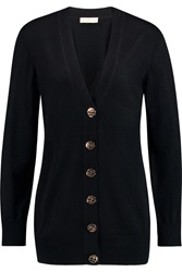 Tory Burch Simone Wool Boyfriend Cardigan Black