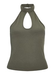 Miss Selfridge Khaki Keyhole Halter Crop