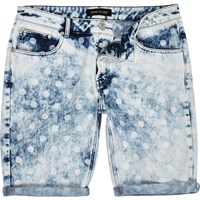 River Island Mens Blue Acid Wash Polka Dot Shorts