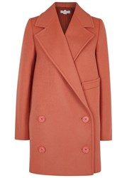 Stella Mccartney Edith Double Breasted Wool Blend Coat Pink