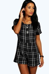 Boohoo Checked Capped Sleeve Woven Playsuit Black